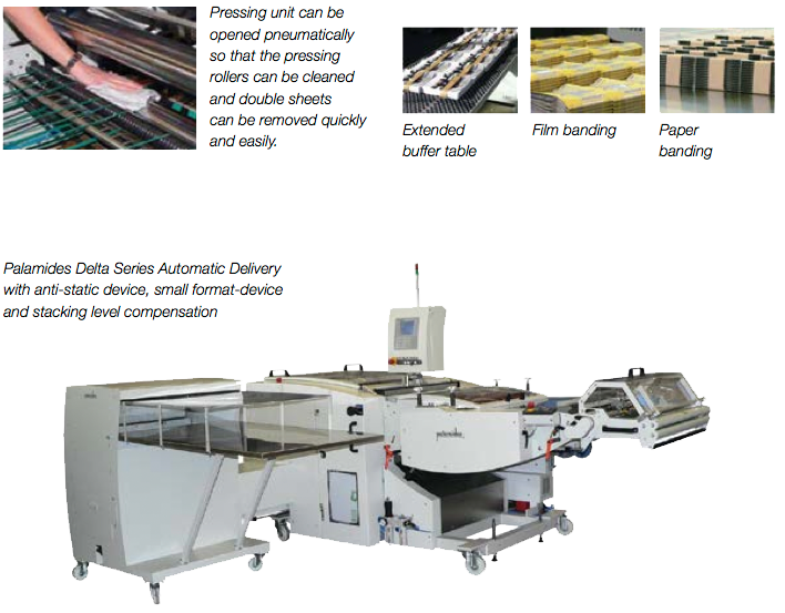 Pressing unit can be opened pneumatically so that the pressing rollers can be cleaned and double sheets can be removed quickly and easily | Extended buffer table | Film banding | Paper banding | Palamides Delta Series Automatic Delivery with anti-static device, small format-device and stacking level compensation