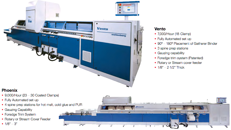 "Vento | 7,000/Hour (18-Clamp), Fully Automated set-up, 90o – 180o Placement of Gatherer Binder, 3 spine prep stations, Gauzing capability, Foredge trim system (Patented), Rotary or Stream cover feeder, 1/8"" – 2-1/2"" Thick 